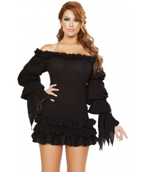 Ruffled Black Gothic Pirate Dress Cosplay Costume Closet Halloween Shop Halloween Cosplay Costumes | Kids, Adult & Plus Size Halloween Costumes
