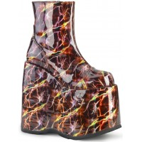 Slay Burgundy Lightning Hologram Platform Ankle Boot