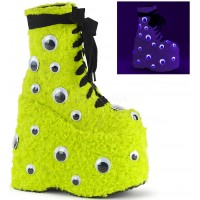 Slay Lime Green Googly Eye Platform Boots