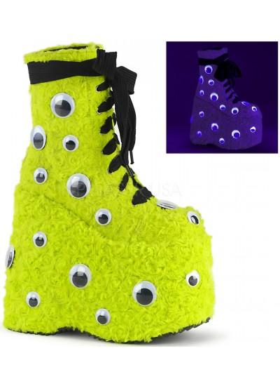 Slay Lime Green Googly Eye Platform Boots at Cosplay Costume Closet Halloween Shop, Halloween Cosplay Costumes | Kids, Adult & Plus Size Halloween Costumes