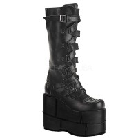 Mens Extreme Platform Knee Boot with Lace Up Strap