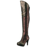 Wonder Red and Gold Thigh High Womens Boots