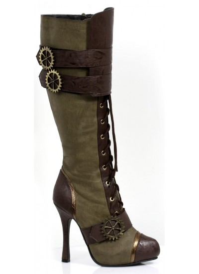 Quinley Steampunk Olive Green Boots at Cosplay Costume Closet Halloween Shop, Halloween Cosplay Costumes | Kids, Adult & Plus Size Halloween Costumes
