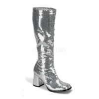 Spectacular Silver Sequin Covered Gogo Boots