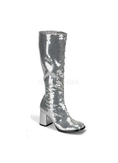Spectacular Silver Sequin Covered Gogo Boots at Cosplay Costume Closet Halloween Shop, Halloween Cosplay Costumes | Kids, Adult & Plus Size Halloween Costumes