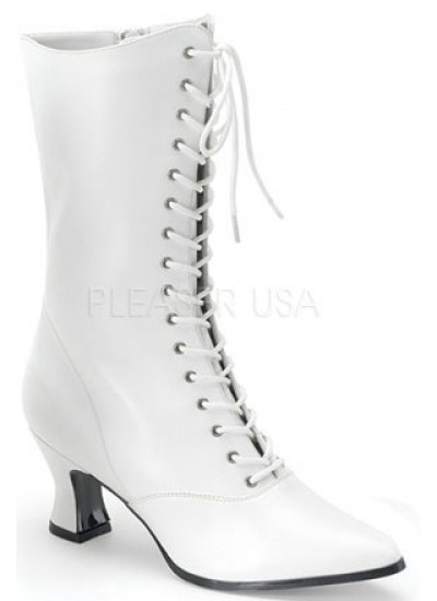 White Victorian Steampunk Ankle Boots at Cosplay Costume Closet Halloween Shop, Halloween Cosplay Costumes | Kids, Adult & Plus Size Halloween Costumes