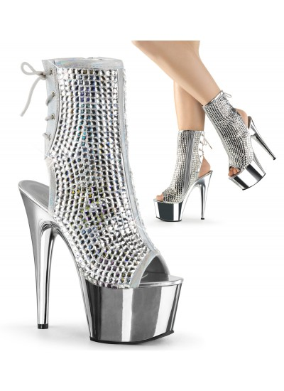 Diamond Rhinestone Silver Hologram Ankle Boot at Cosplay Costume Closet Halloween Shop, Halloween Cosplay Costumes | Kids, Adult & Plus Size Halloween Costumes