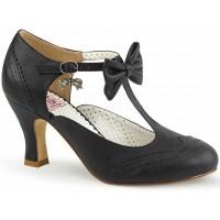 Flapper Black Kitten Heel T-Strap Bow Pump
