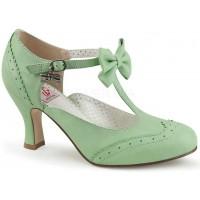 Flapper Mint Green Kitten Heel T-Strap Bow Pump