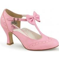 Flapper Pink Kitten Heel T-Strap Pump