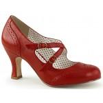 Cross Strap Flapper Red Vintage Heel Shoe