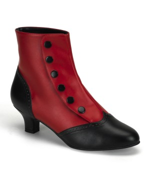 Flora Red and Black Womens Spats Victorian Ankle Boots Cosplay Costume Closet Halloween Shop Halloween Cosplay Costumes | Kids, Adult & Plus Size Halloween Costumes