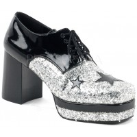 Glamrock 1970s Platform Shoes in Black and Silver