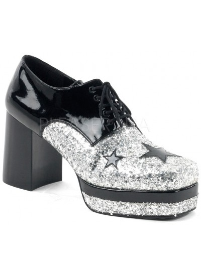 Glamrock 1970s Platform Shoes in Black and Silver at Cosplay Costume Closet, Halloween Cosplay Costumes | Kids, Adult & Plus Size Halloween Costumes