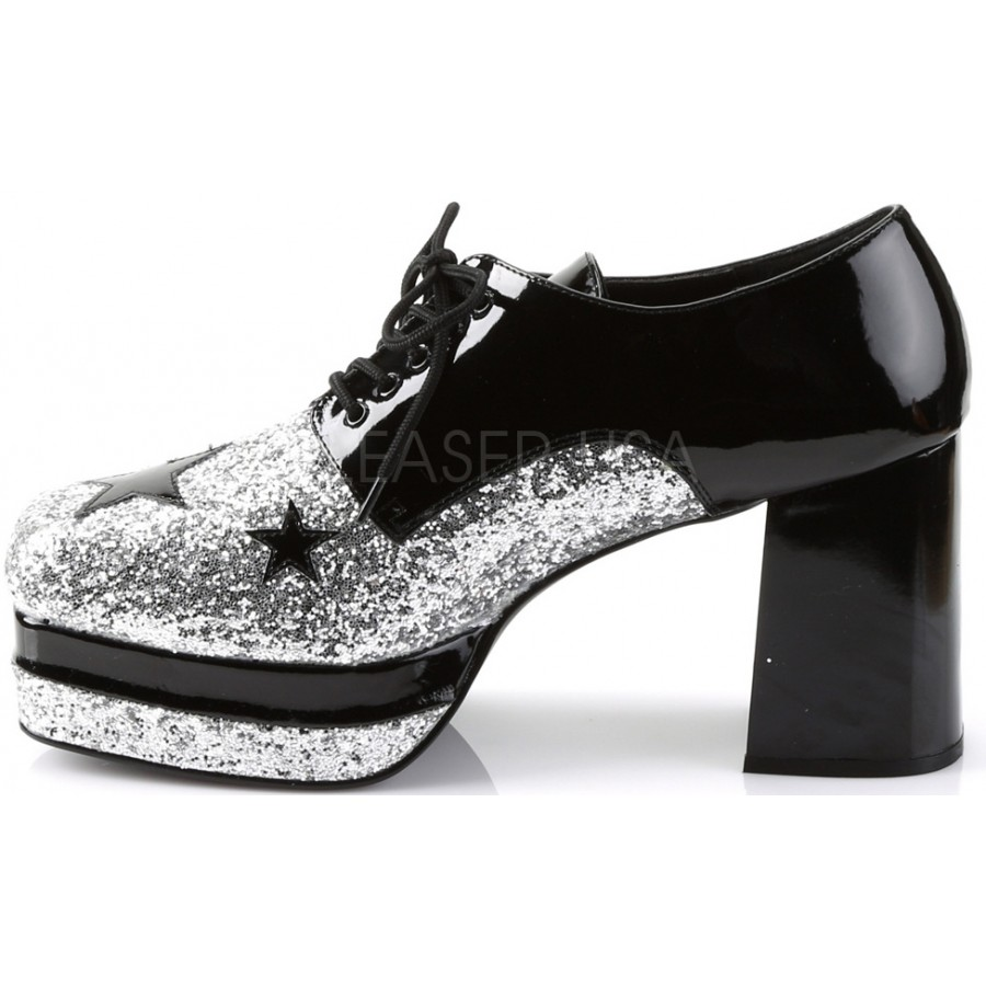 8a6f1ec6e1cd ... Glamrock 1970s Platform Shoes in Black and Silver at Cosplay Costume  Closet Halloween Costume Shop