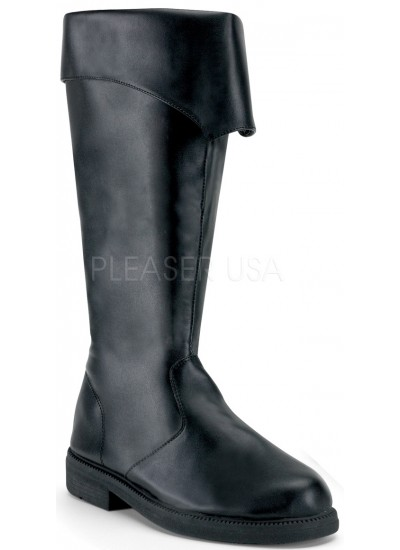 Captain Mid Calf Cuffed Black Boots at Cosplay Costume Closet Halloween Shop, Halloween Cosplay Costumes | Kids, Adult & Plus Size Halloween Costumes