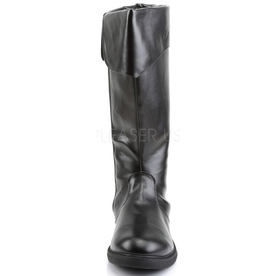 cbd67035042 Captain Mid Calf Cuffed Costume Boots in Black | Halloween Boots