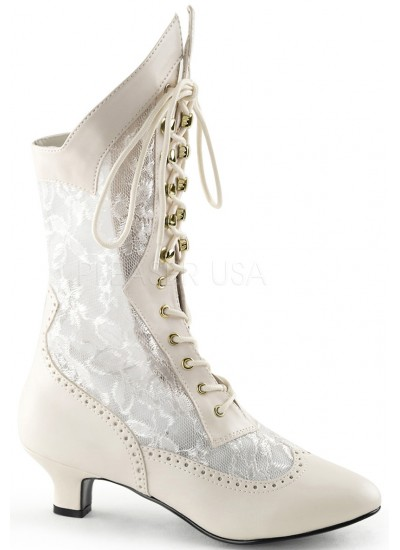 Victorian Dame Ivory Lace Boot at Cosplay Costume Closet Halloween Shop, Halloween Cosplay Costumes | Kids, Adult & Plus Size Halloween Costumes