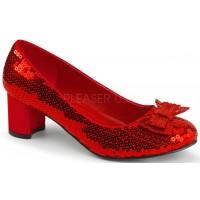 Dorothy Red Sequin 2 Inch Heel Pump