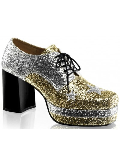 Glamrock 1970s Platform Shoes in Gold and Silver at Cosplay Costume Closet Halloween Shop, Halloween Cosplay Costumes | Kids, Adult & Plus Size Halloween Costumes