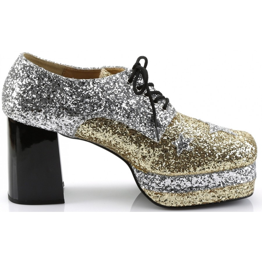 c2077177835e ... Glamrock 1970s Platform Shoes in Gold and Silver at Cosplay Costume  Closet Halloween Costume Shop