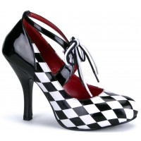 Harlequinn Black and White Checkered Pump