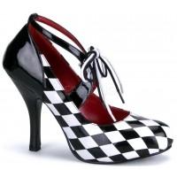 Harlequinn Black and White Checkered Pump