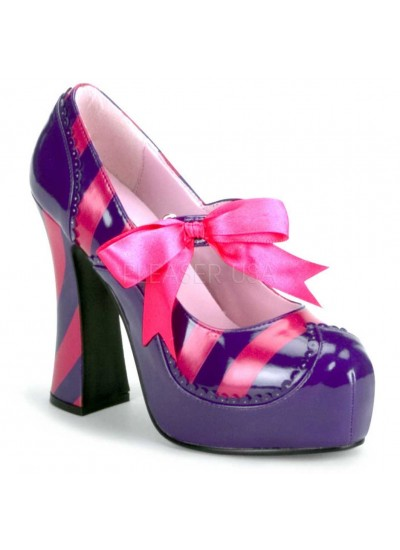Kitty Purple and Hot Pink Striped Pump at Cosplay Costume Closet Halloween Shop, Halloween Cosplay Costumes | Kids, Adult & Plus Size Halloween Costumes
