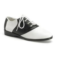 Saddle Shoe Black and White Womens Flat Oxford
