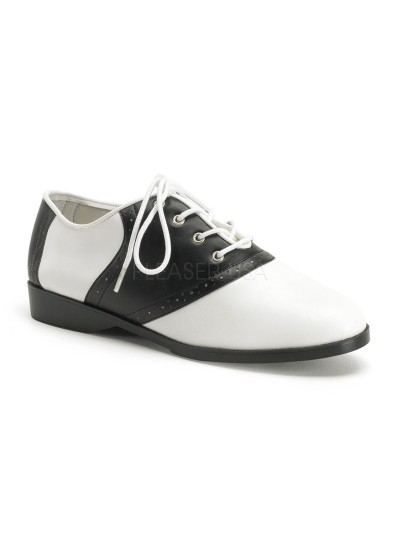Saddle Shoe Black and White Womens Flat Oxford at Cosplay Costume Closet Halloween Shop, Halloween Cosplay Costumes | Kids, Adult & Plus Size Halloween Costumes