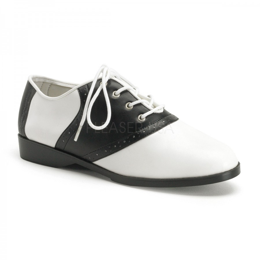 69337401786 Saddle Shoe Black and White Womens Flat Oxford at Cosplay Costume Closet  Halloween Costume Shop