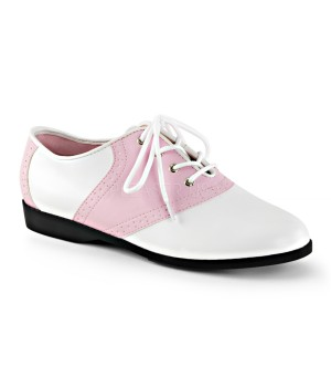 Saddle Shoe Pink and White Womens Flat Oxford Cosplay Costume Closet Halloween Costume Shop Halloween Cosplay Costumes | Kids, Adult & Plus Size Halloween Costumes