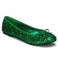 Star Green Glittered Ballet Flat