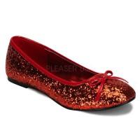 Star Red Glittered Ballet Flat