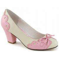Cuban Heel Cream and Pink Wiggle Heart Pump